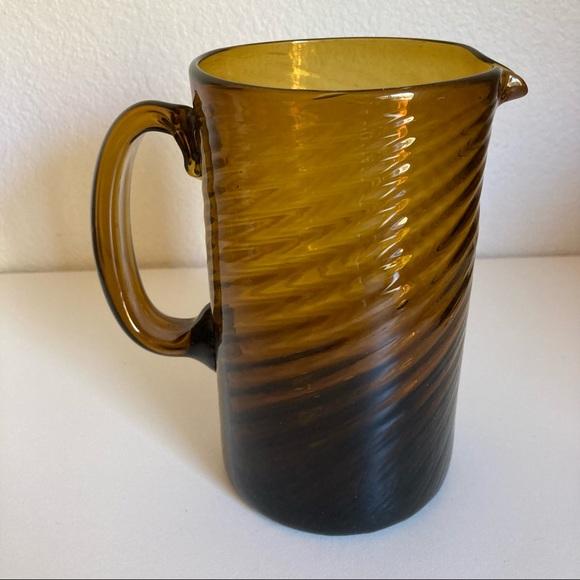 Vintage Hand Blown Amber Glass Pitcher Swirl Pattern